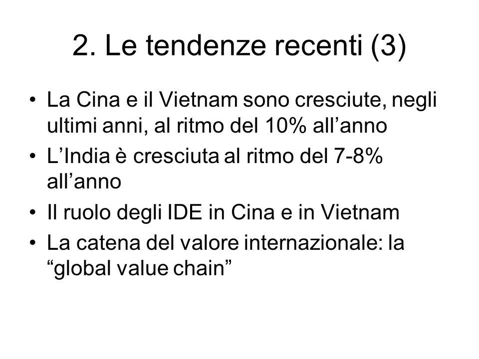2. Le tendenze recenti (3) La Cina e il Vietnam sono cresciute, negli ultimi anni, al ritmo del 10% all'anno.