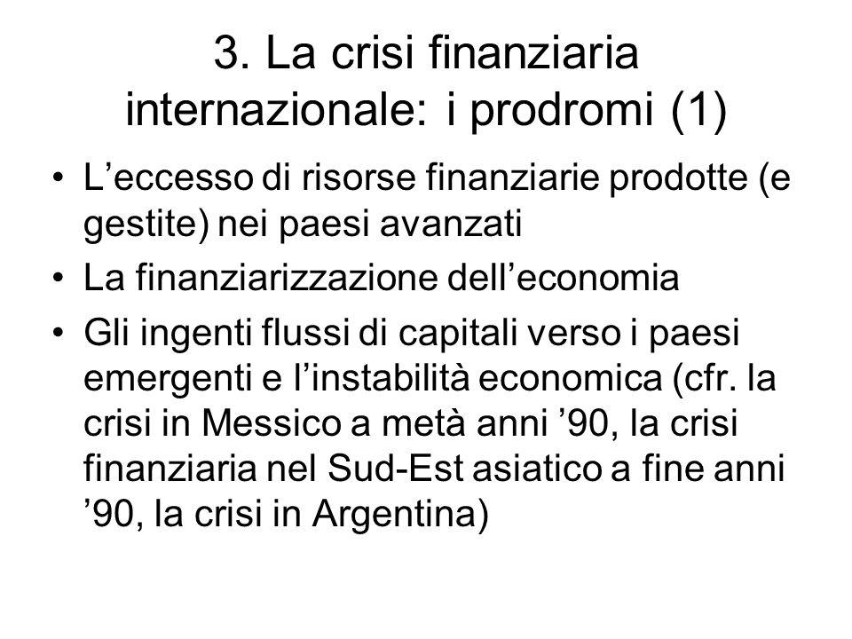 3. La crisi finanziaria internazionale: i prodromi (1)