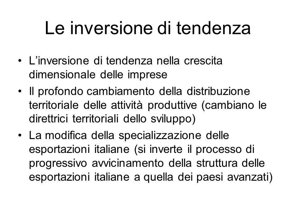Le inversione di tendenza