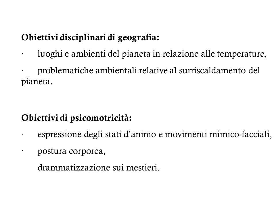 Obiettivi disciplinari di geografia: