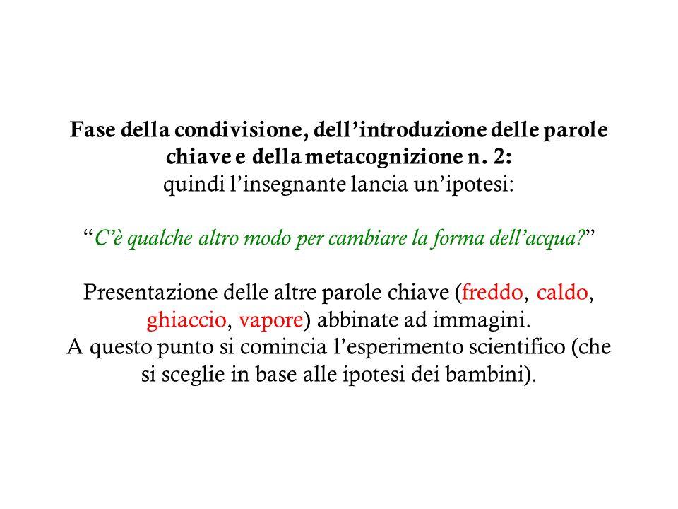 Fase della condivisione, dell'introduzione delle parole chiave e della metacognizione n.