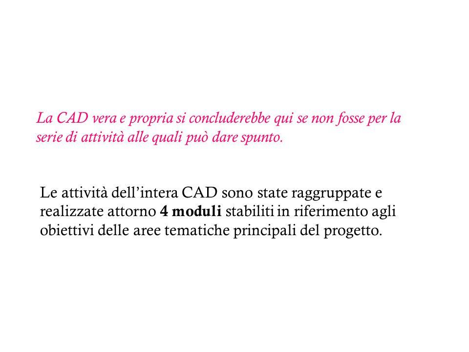 La CAD vera e propria si concluderebbe qui se non fosse per la serie di attività alle quali può dare spunto.
