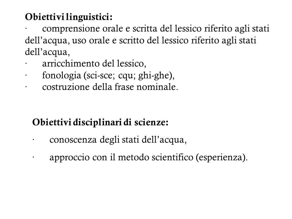 Obiettivi disciplinari di scienze: