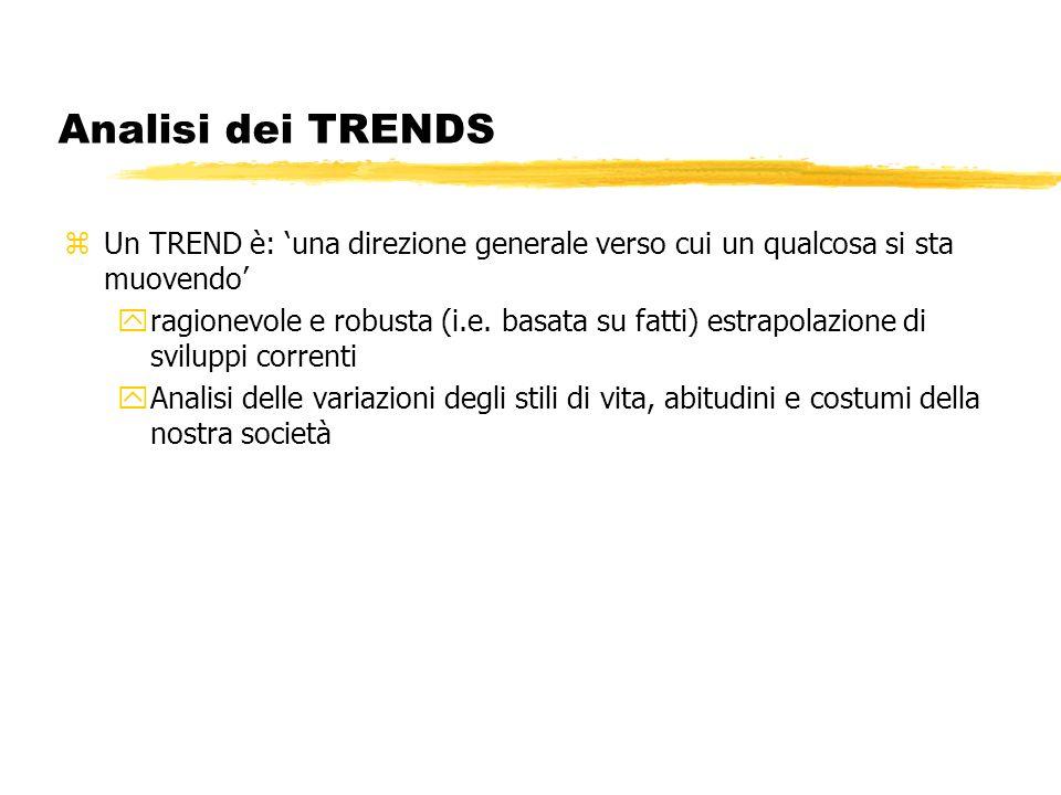 Analisi dei TRENDS Un TREND è: 'una direzione generale verso cui un qualcosa si sta muovendo'