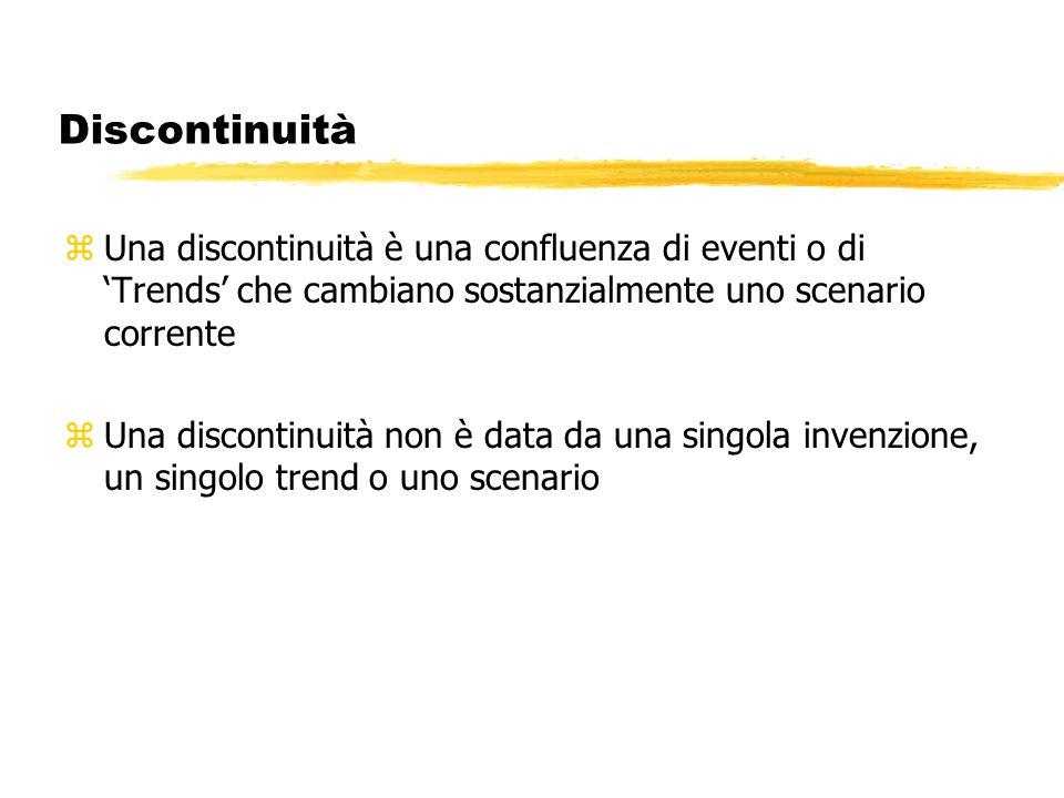 Discontinuità Una discontinuità è una confluenza di eventi o di 'Trends' che cambiano sostanzialmente uno scenario corrente.