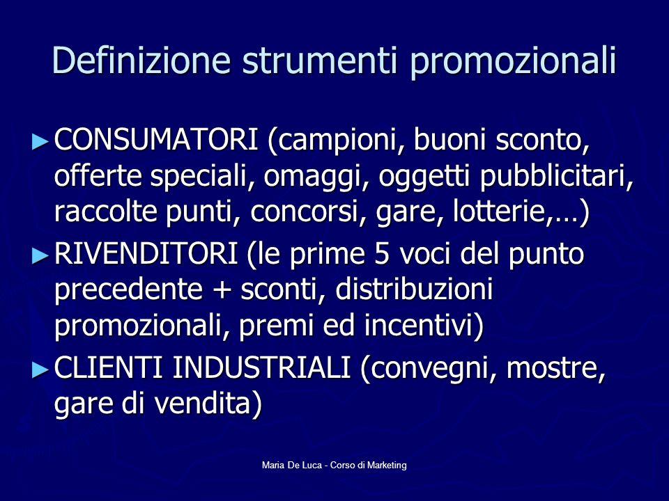 Definizione strumenti promozionali