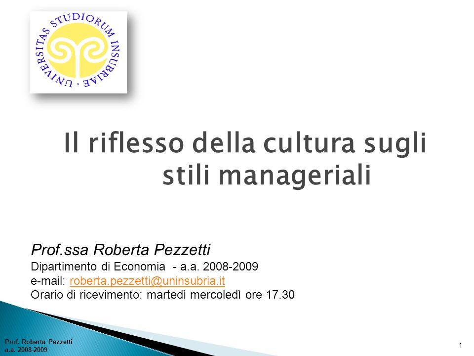 Il riflesso della cultura sugli stili manageriali