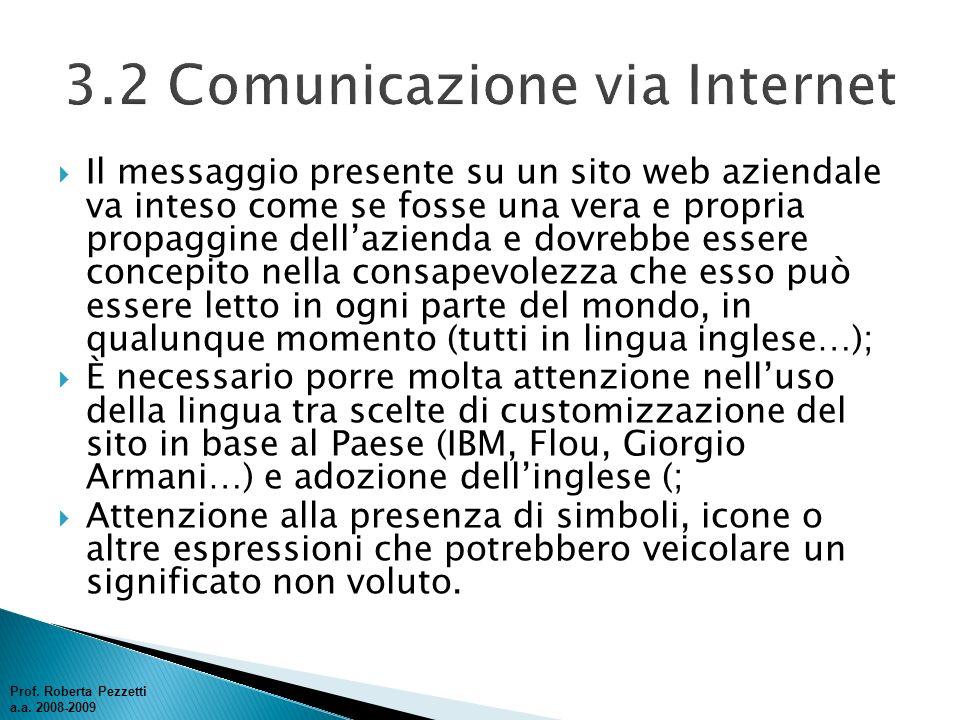 3.2 Comunicazione via Internet