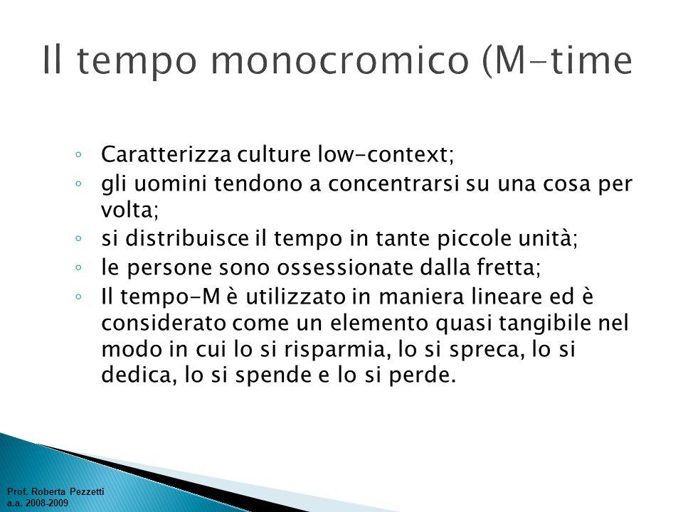 Il tempo monocromico (M-time
