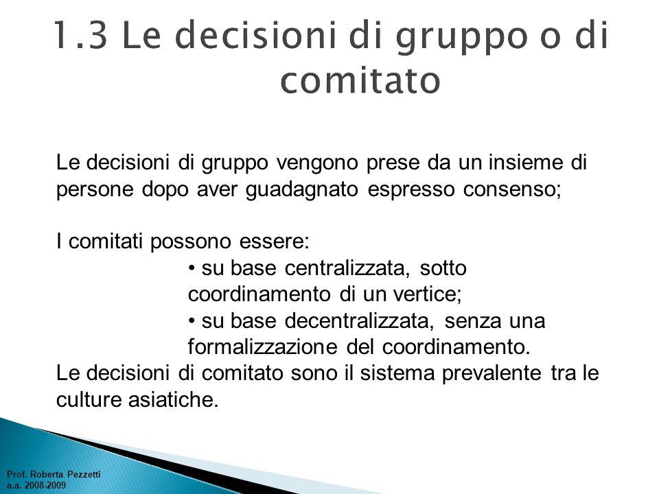 1.3 Le decisioni di gruppo o di comitato