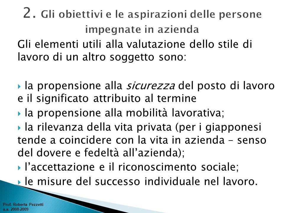 2. Gli obiettivi e le aspirazioni delle persone impegnate in azienda
