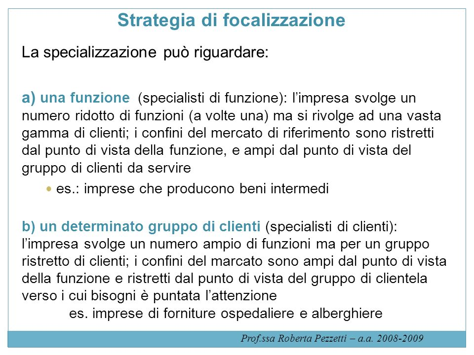 Strategia di focalizzazione