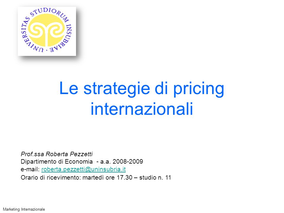Le strategie di pricing internazionali