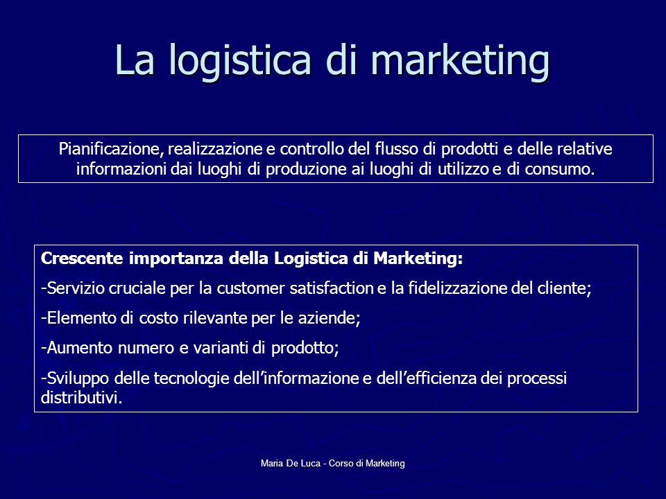 La logistica di marketing