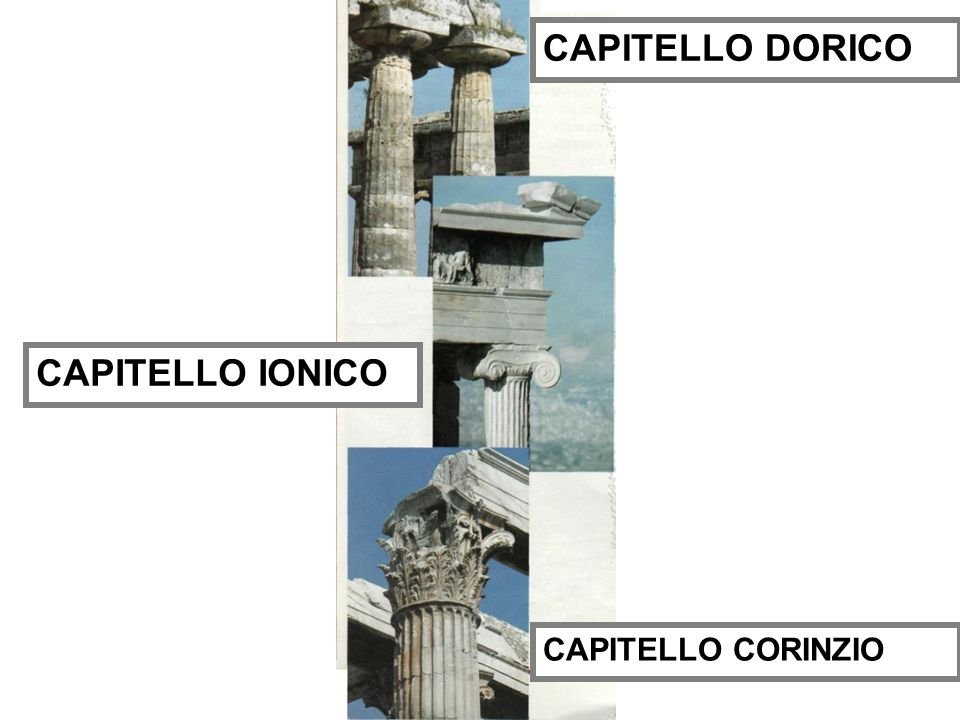 CAPITELLO DORICO CAPITELLO IONICO CAPITELLO CORINZIO