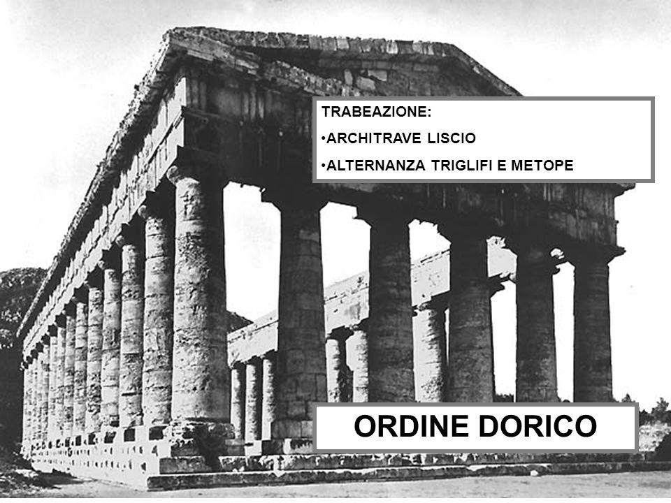 ORDINE DORICO TRABEAZIONE: ARCHITRAVE LISCIO
