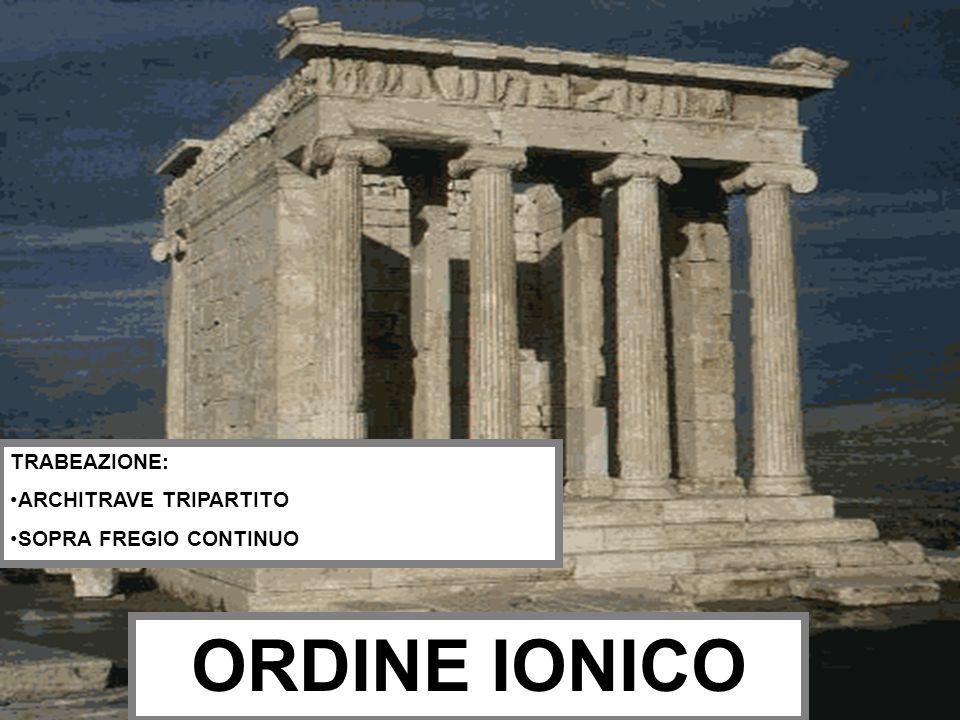 TRABEAZIONE: ARCHITRAVE TRIPARTITO SOPRA FREGIO CONTINUO ORDINE IONICO
