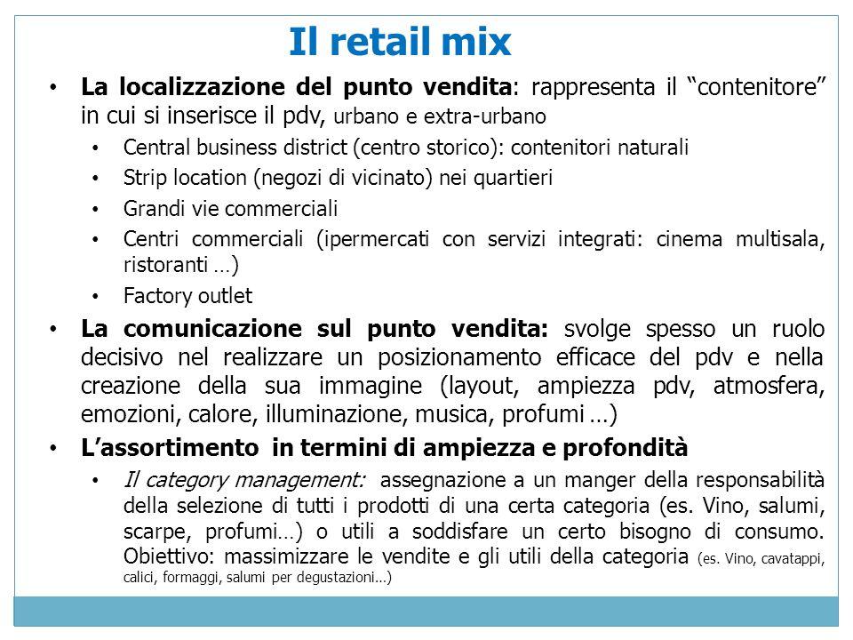 Il retail mix La localizzazione del punto vendita: rappresenta il contenitore in cui si inserisce il pdv, urbano e extra-urbano.