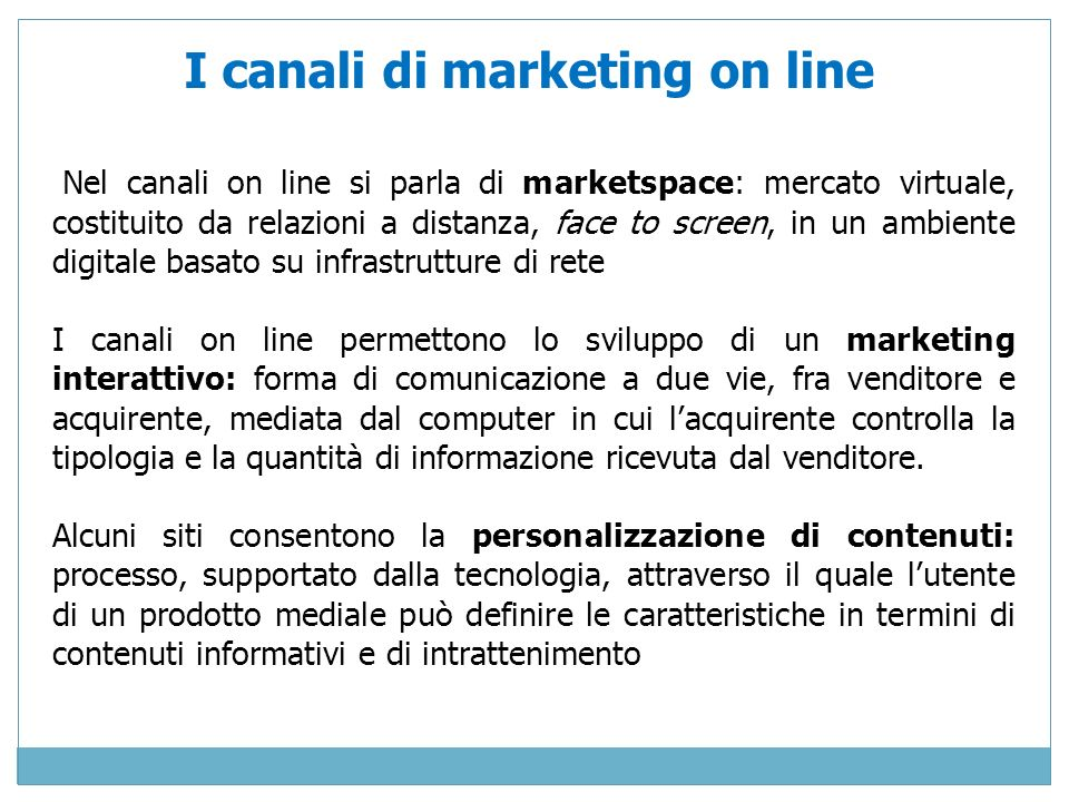 I canali di marketing on line