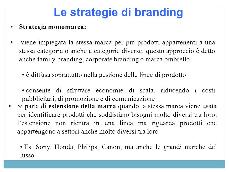 Le strategie di branding