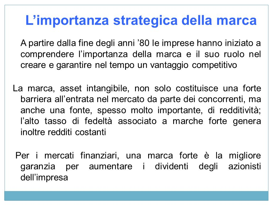 L'importanza strategica della marca