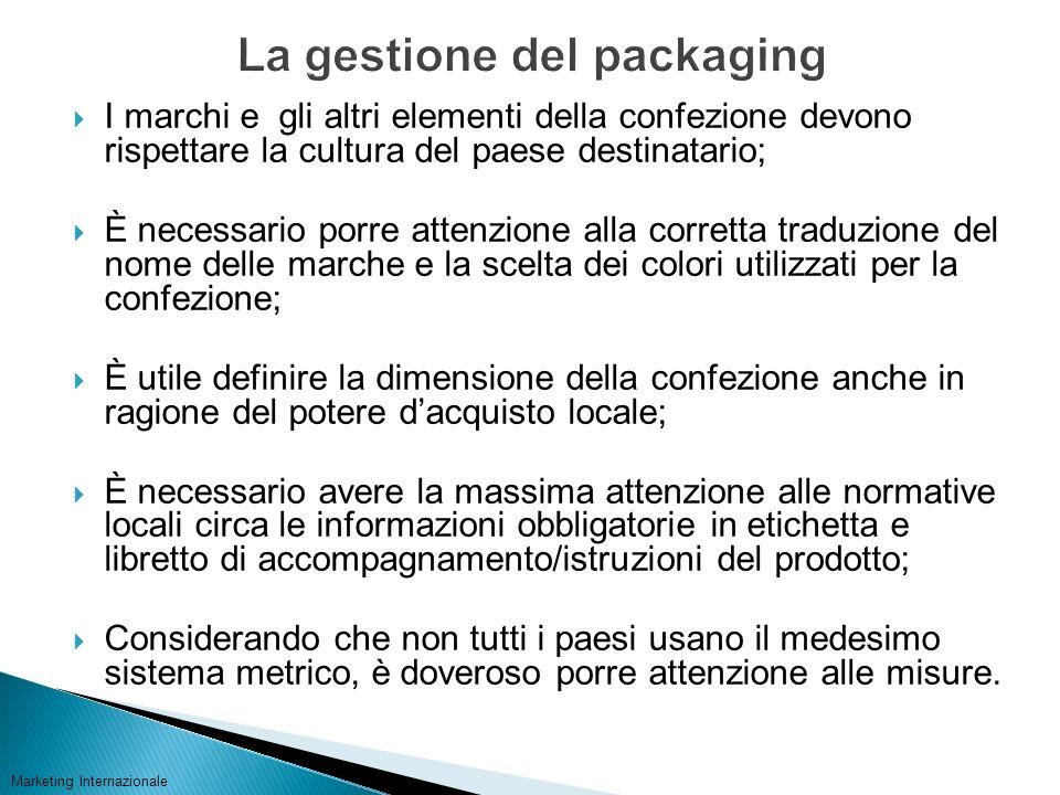La gestione del packaging