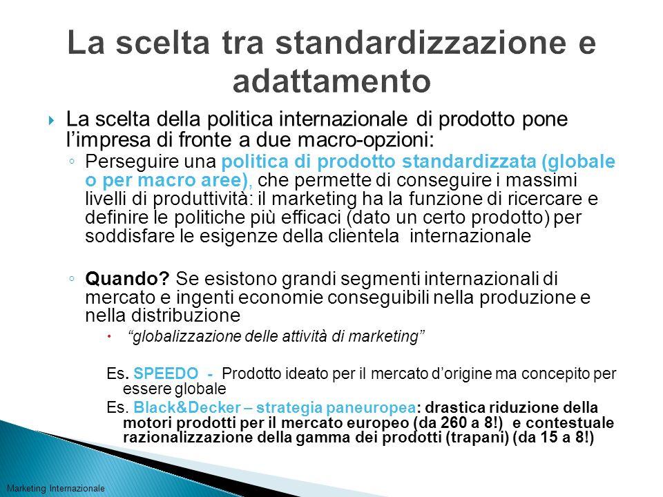 La scelta tra standardizzazione e adattamento