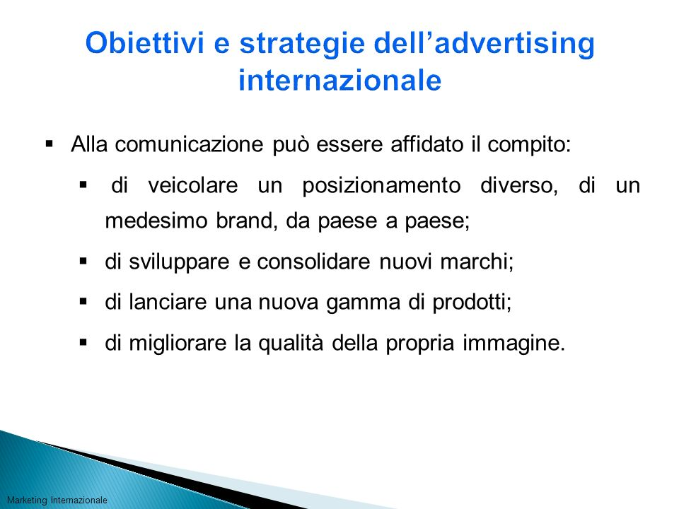 Obiettivi e strategie dell'advertising internazionale