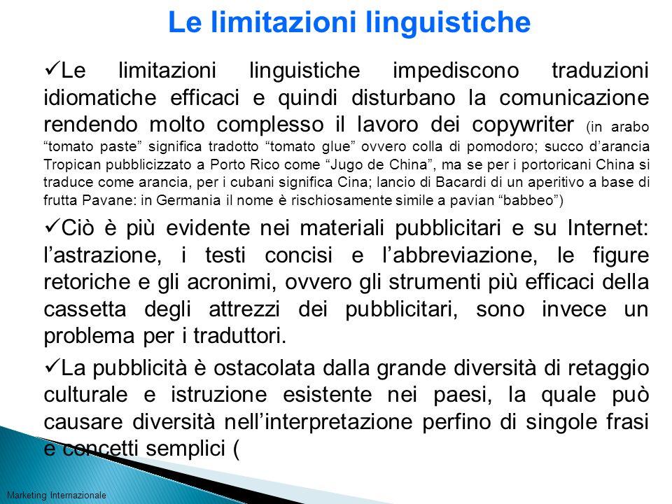 Le limitazioni linguistiche
