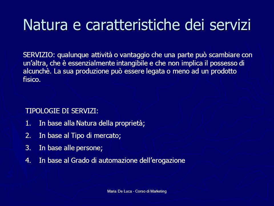 Natura e caratteristiche dei servizi
