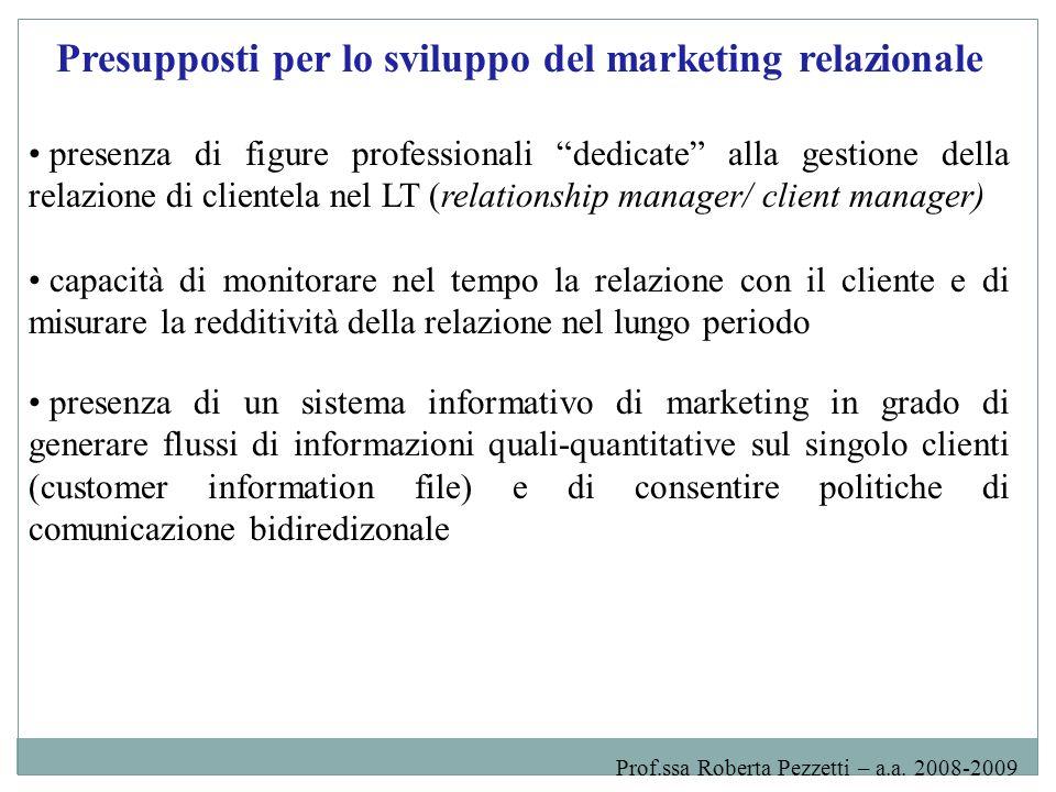 Presupposti per lo sviluppo del marketing relazionale