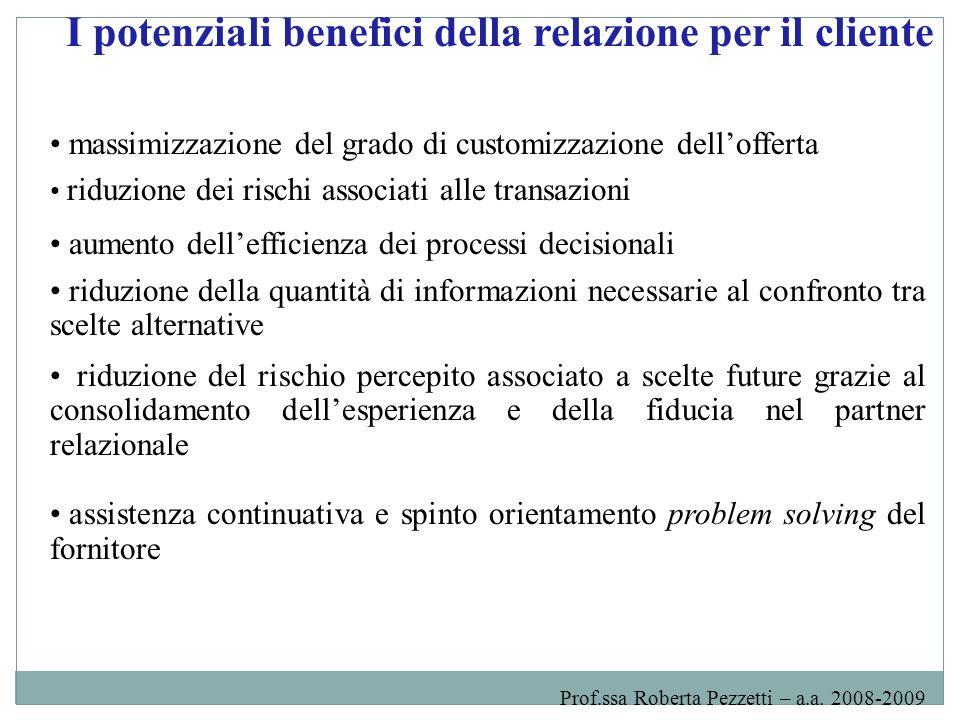 I potenziali benefici della relazione per il cliente