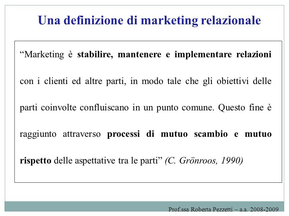 Una definizione di marketing relazionale
