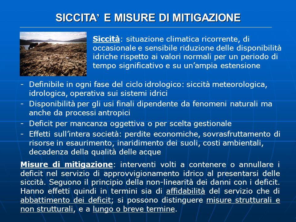 SICCITA' E MISURE DI MITIGAZIONE