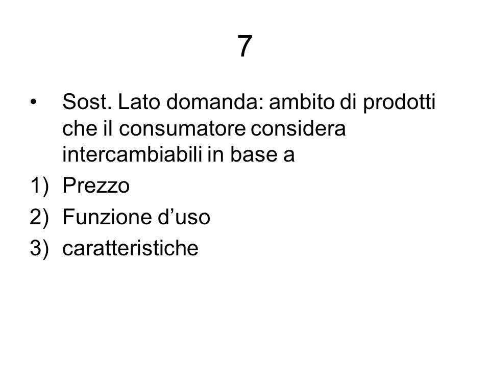 7 Sost. Lato domanda: ambito di prodotti che il consumatore considera intercambiabili in base a. Prezzo.