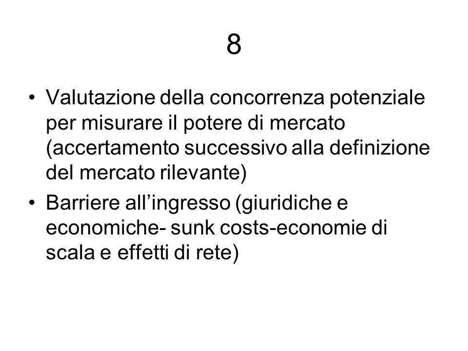 8Valutazione della concorrenza potenziale per misurare il potere di mercato (accertamento successivo alla definizione del mercato rilevante)