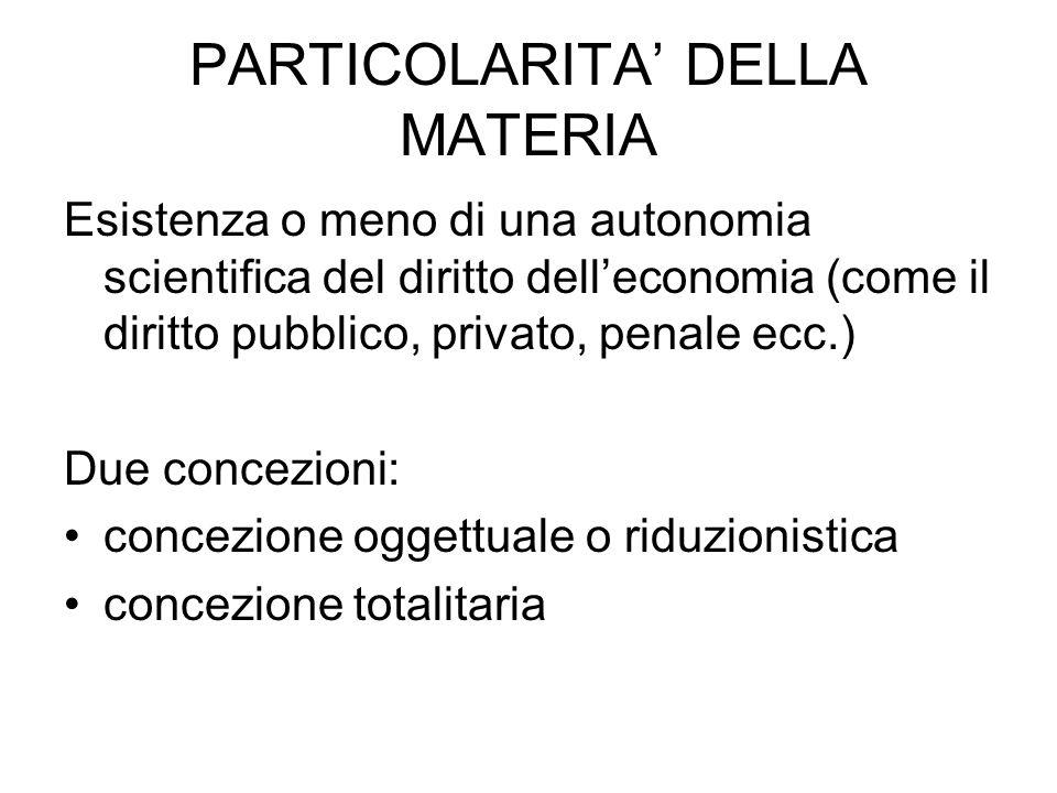 PARTICOLARITA' DELLA MATERIA