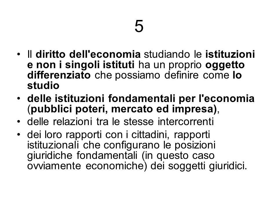 5 Il diritto dell economia studiando le istituzioni e non i singoli istituti ha un proprio oggetto differenziato che possiamo definire come lo studio.