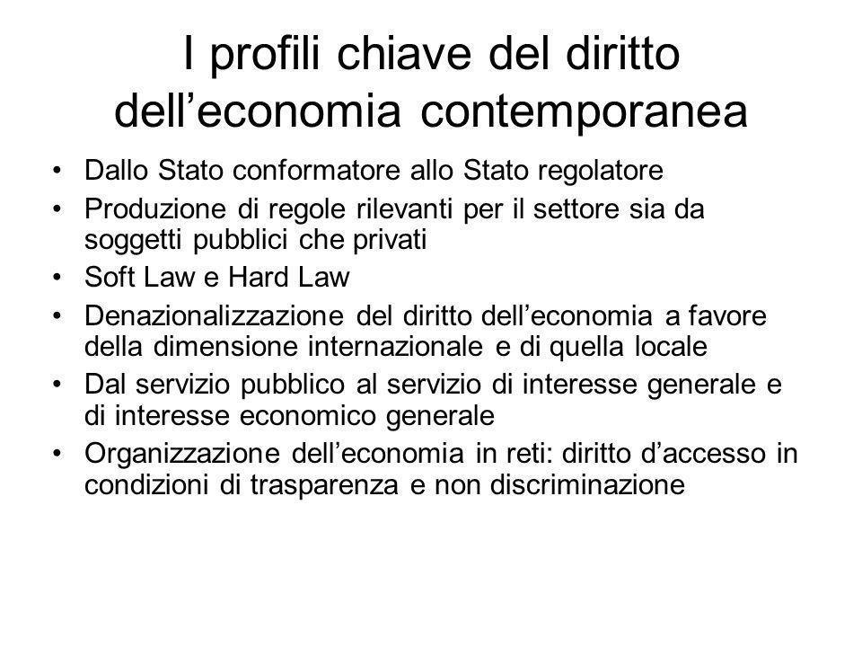 I profili chiave del diritto dell'economia contemporanea