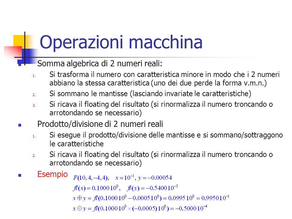 Operazioni macchina Somma algebrica di 2 numeri reali:
