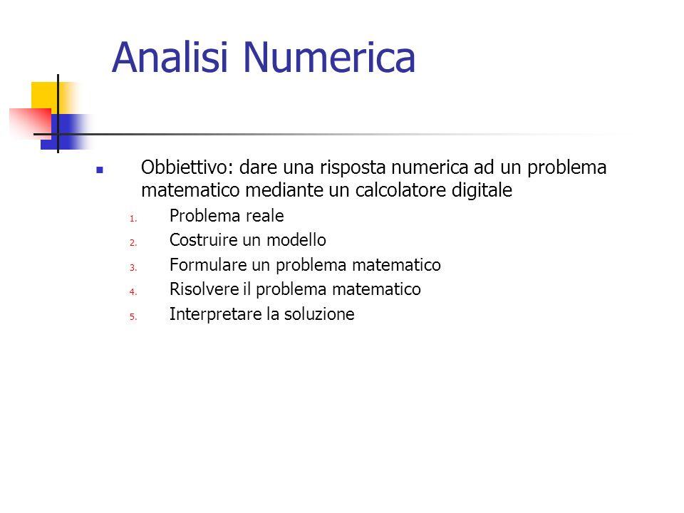 Analisi Numerica Obbiettivo: dare una risposta numerica ad un problema matematico mediante un calcolatore digitale.