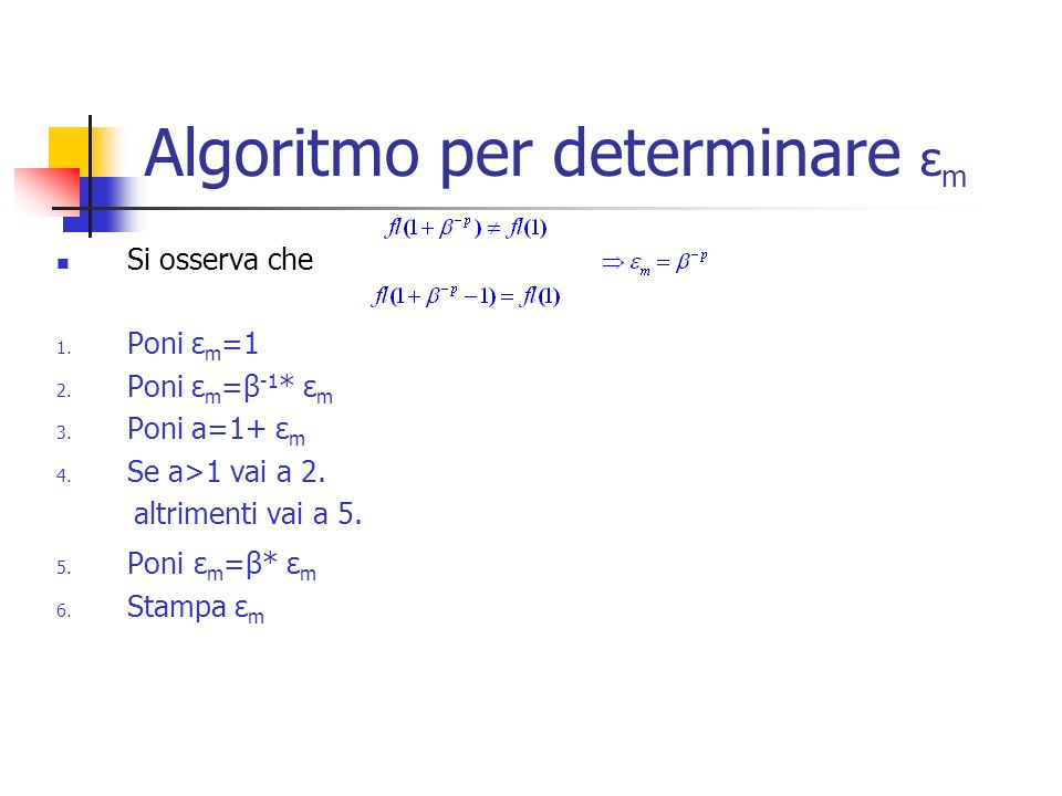 Algoritmo per determinare εm