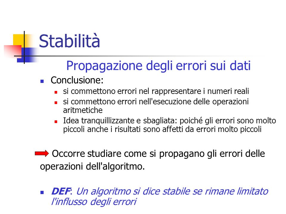 Propagazione degli errori sui dati
