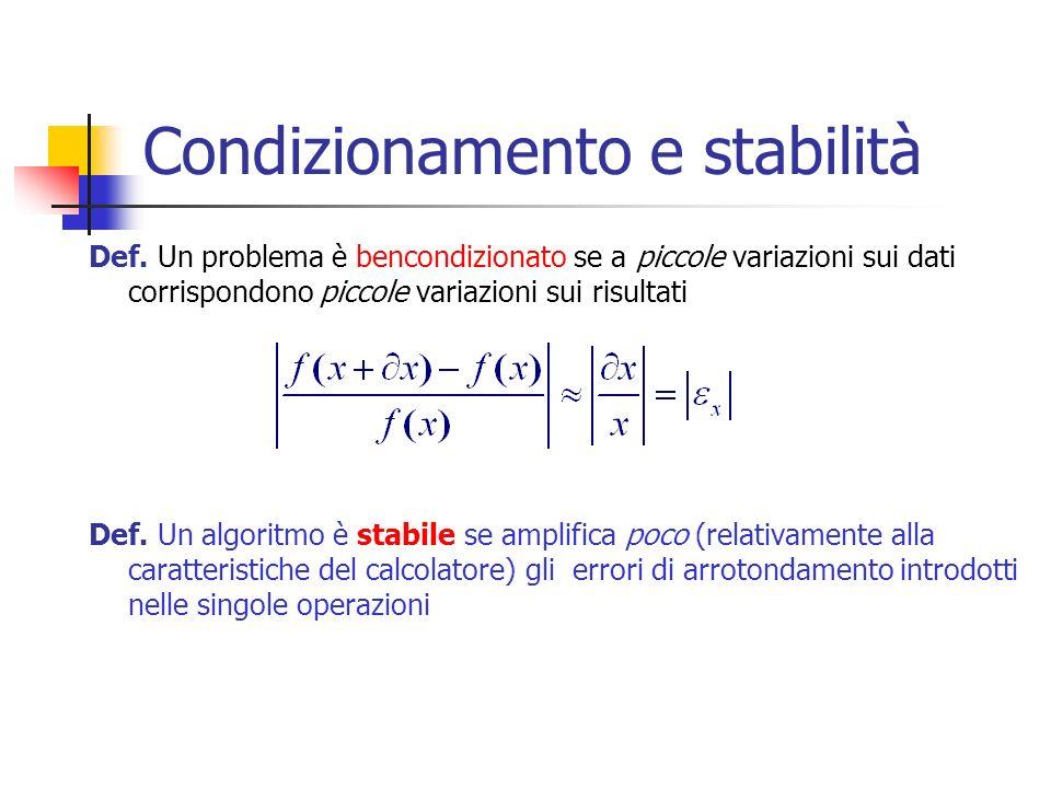 Condizionamento e stabilità