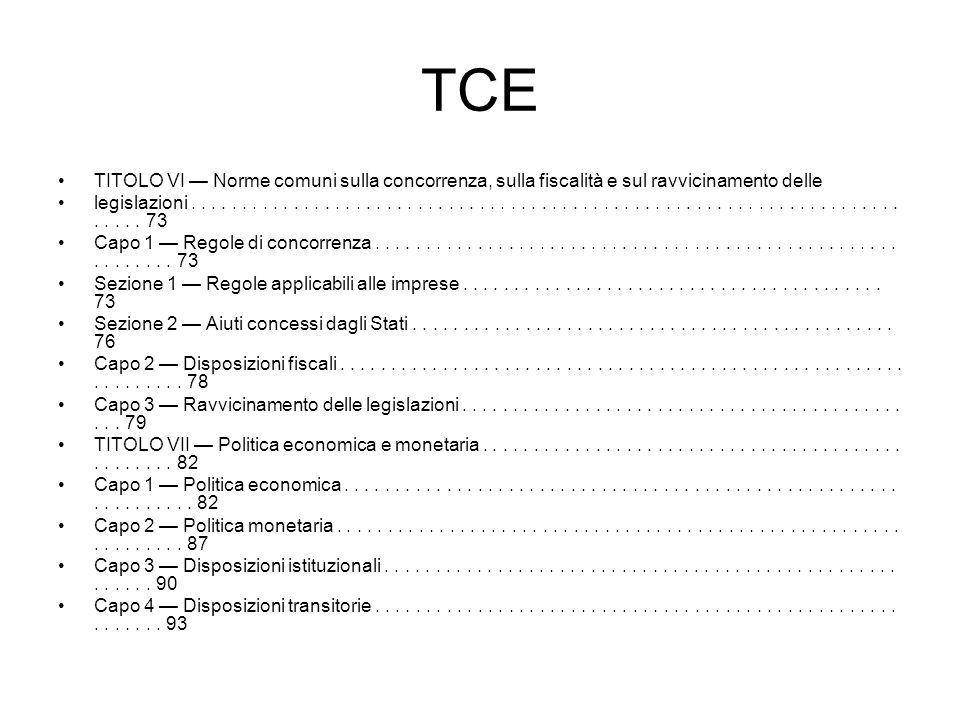 TCE TITOLO VI — Norme comuni sulla concorrenza, sulla fiscalità e sul ravvicinamento delle.