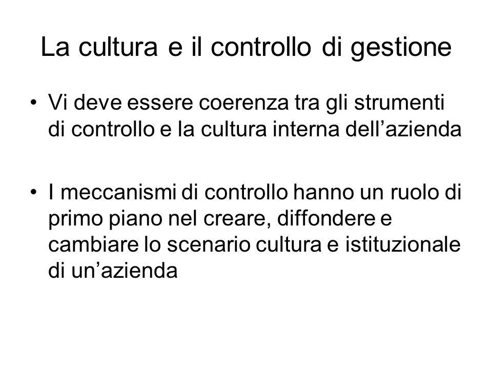 La cultura e il controllo di gestione