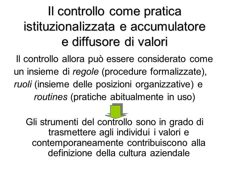 Il controllo come pratica istituzionalizzata e accumulatore e diffusore di valori