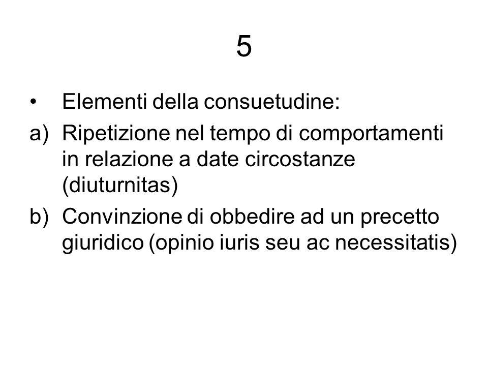 5 Elementi della consuetudine: