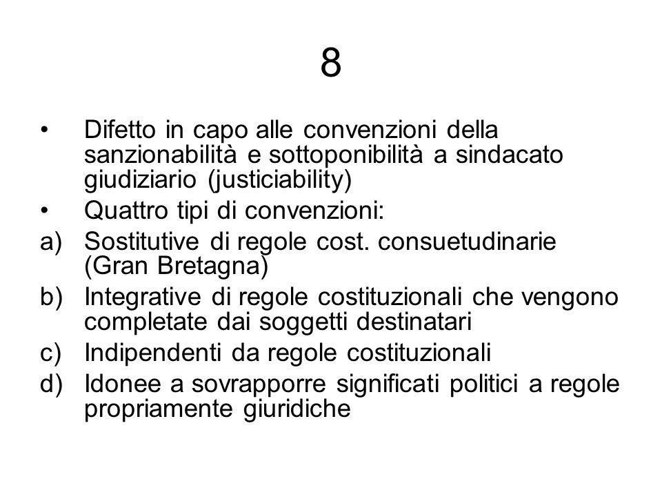 8 Difetto in capo alle convenzioni della sanzionabilità e sottoponibilità a sindacato giudiziario (justiciability)