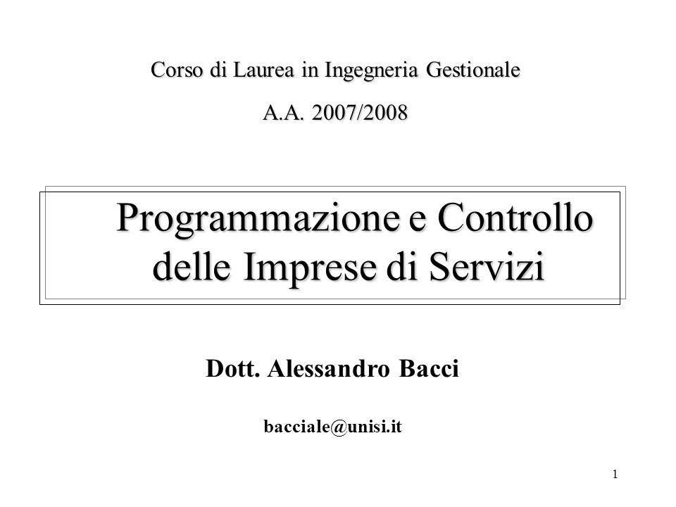 Programmazione e Controllo delle Imprese di Servizi